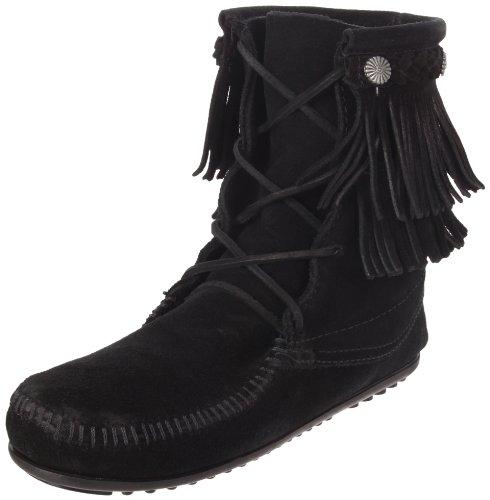 Minnetonka Double Fringe Hitchhiker Boot 623, Stivali Da Donna Nero (nero)