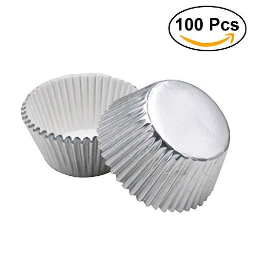 ers Aluminium Folie Cups Mini Kuchen Muffin Formen zum Backen (Silber)–100Stück (Urlaub Cupcake Liner)