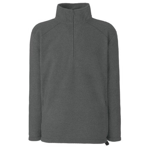 Fruit of the Loom Herren Half Zip Fleece Sweatshirt, Grau (Smoke 00), Large -
