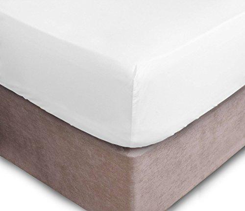 Preisvergleich Produktbild axeblink Platinum 300Fadenzahl Extra Tiefes Spannbettlaken Bio Baumwolle 40,6cm/40cm., weiß, Doppelbett