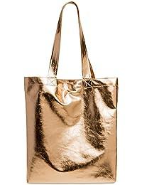 CASPAR Fashion Ts1047 Large Women Shopper Bag/Metallic Tote Handbag, Colour: Rose Gold;Size: One Size