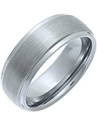 Theia Nickel Free Tungsten Matt Centre and Highly Polished Edges Wedding Ring for Gents