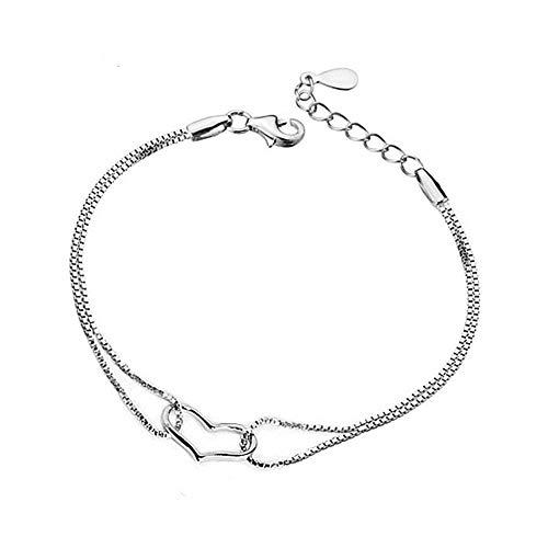 JZHJJ Einfaches und stilvolles, klassisches Paar-Armband aus Sterlingsilber für Damen, Hohle Liebe, Doppelkette, mehrlagiges Platin-Schmuck, beinhaltet: Armband, Armbänder für Frauen