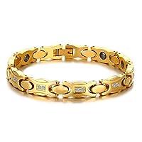 سوار تيتانيوم سي زي علاجي مغناطيسي بقاعدة رقيقة كهديةللنساء،مطلي بالذهب قابل للتعديل