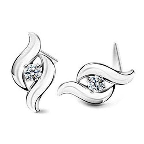Modische Ohrringe S-Form Swarovski Elements für Damen Frauen Kinder Fashion Elegante Kristall 925 Sterling Silber plattiert Ohrstecker Geschenk Valentinstag