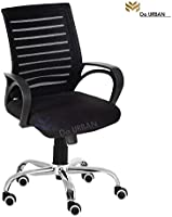 Da Urban Boom Mid Back Mesh Revolving Chair with Wheels (Black) (1 Pc)