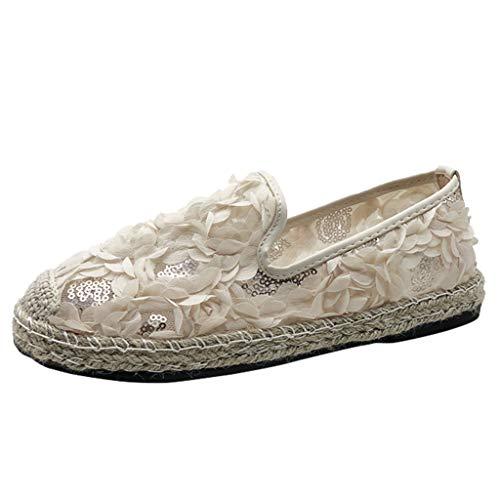 Ears Damen Weben Schuhe Sommer Flat Bottom Single Schuhe Casual Flower Straw Schuhe Plus Größe Römische Schuhe Solid Böhmische Schuhe Vintage Atmungsaktiv Turnschuhe Einzelne Schuhe -