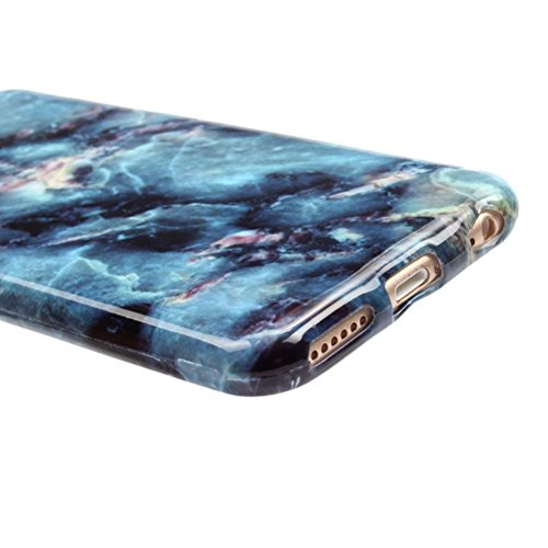 iPhone 6 Marble Case, Vioela Cool [Perfect Fit] Ultra Weich Silikon TPU Gläzende Marmor Stein Texture Muster Flexible Gummi Schutzhülle Back Cover für Apple iPhone 6 6s 4.7 inch with Free Stylus Dark Blue