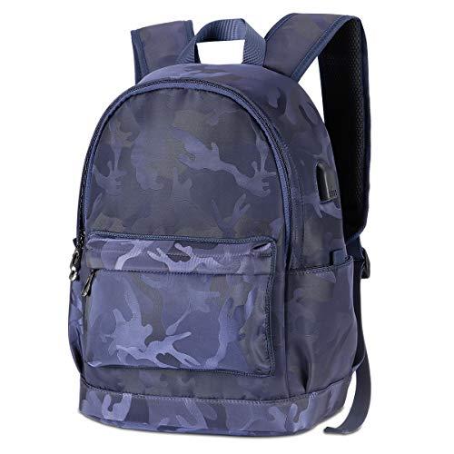 Studenten, wasserdicht, Leinen, Laptop, Reisetasche, Tagesrucksack mit USB-Ladeanschluss für Damen und Herren, 39,6 cm (15,6 Zoll) Blau blau (Tarnfarben) L ()