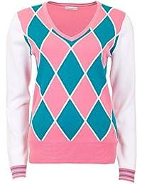 Green Lamb Ladies Bronwyn Argyle Sweater Golf Pullover Jumper Top 4d5e4d692