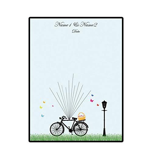 PANDABOOM DIY Ehe Paar Hochzeit Fahrrad Leinwand Fingerprint Teilnahme Ziehen Zeichen In Malerei Tapete Gast Unterschrift Bücher Ohne Rahmen 50x70Cm
