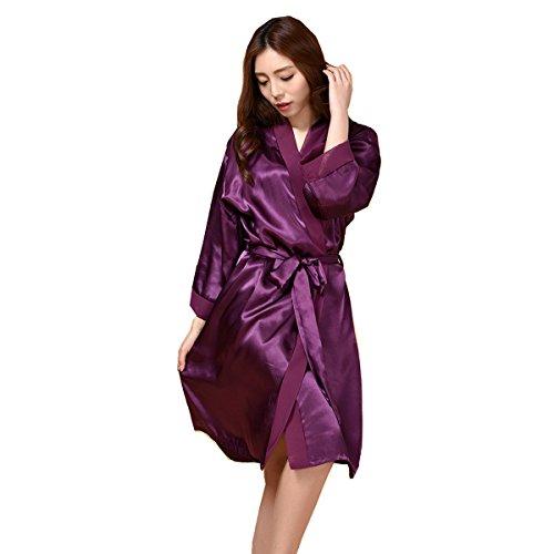 Honeystore Damen Morgenmantel Satin Robe Nachtwäsche Bademantel Kimono Negligee Seidenrobe Schlafanzug lang Violett One Size (Perlen Seiden-camisole Mit)