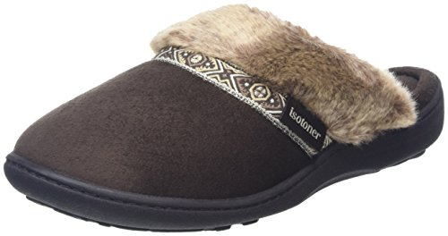 isotoner-women-pillowstep-with-fur-cuff-and-tape-trim-open-back-slippers-brown-chocolate-7-uk-40-eu