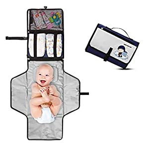 Cambiador Portátil de Pañales para Bebé – Kit Cambiador de Viaje – Completamente Acolchado – Esterilla Lavable de Quita…