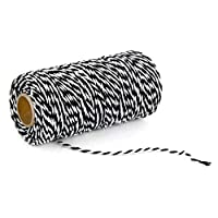 Tonglisen strict 100meters/roll 2ply Bakers Twine String Cotton Cords Rope for Home Decor Handmade Packing Craft Projects DIY(None 01 Black + White)