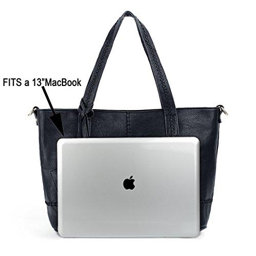 83f4aafd6c537 ... UTO Damen Handtasche Set 3 Stücke Tasche PU Leder Shopper klein  Schultertasche Geldbörse Riemen schwarz schwarz