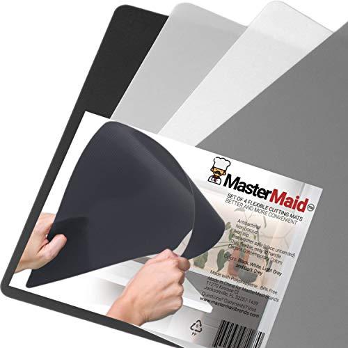 Schwarze Walnuss-hartholz-böden (MasterMaid Schneidematten in einzigartigen, modernen neutralen Farben, antibakteriell, Nicht poröse Schneideoberfläche, strukturierter Boden, spülmaschinenfest, BPA-frei, 4-teiliges Set)
