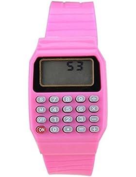 Armbanduhr - SODIAL(R) Jungen Maedchen Silikon Datumsanzeige elektronische Uhr Multifunktions Rechner Uhr Taschenrechner...