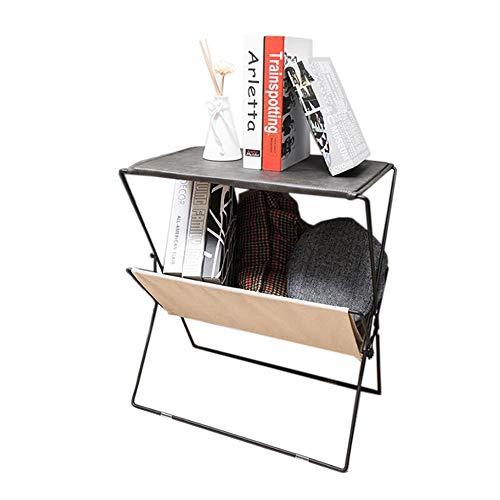 Leder Dvd-rack (JCNFA LOFT Zeitungsständer Stehendes Bücherregal Klappbarer Zeitungsständer Aus Schmiedeeisen Rack Side Rack Strukturierte Leinwand)