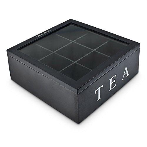 Teebox aus Holz | Teekasten in den Farben Weiß und Schwarz | Teekiste mit 6 Fächern oder als große Teebeutelbox mit 9 Fächern , Auswahl:Schwarz mit 9 Fächern