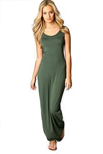 Vogholic Women's Tank Top Long Maxi Dress Beach Dress Ladies Celebrity Party Casual Dress Army Green XL by Vogholic