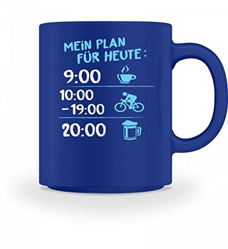 Shirtee Hochwertige Tasse - Radfahrer Fahrrad Fahrradfahrer Radler Fahrradfahrerin Tagesplan Tagesablauf Geschenk
