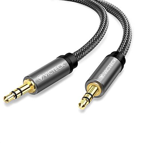Cavo Aux Audio Jack 2M, Victeck Nylon intrecciato Jack Stereo 3.5mm Maschio a Maschio Ausiliario Aux Stereo Cavo Jack compatibile con Smartphone, Radio, Altoparlante, MP3(2M, Nero)