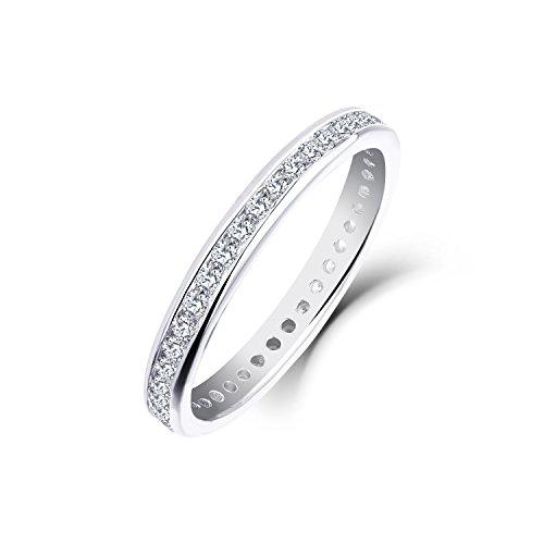 Ringe Gold Damen Starchenie Diamant Ringe Geschenk Hochzeit Ring Weißgold (9K/10K/14K) (9 Karat (375) Weißgold, 59 (18.8))