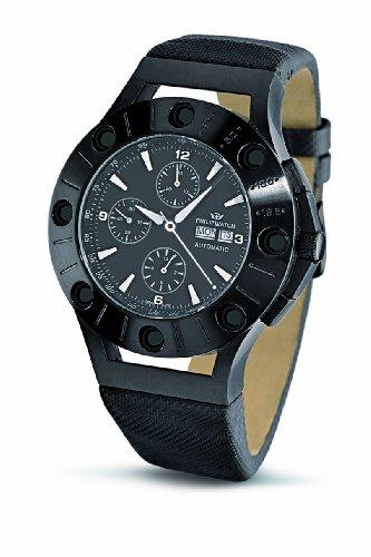philip watch r8241684025 - reloj de caballero automático, correa de piel color negro