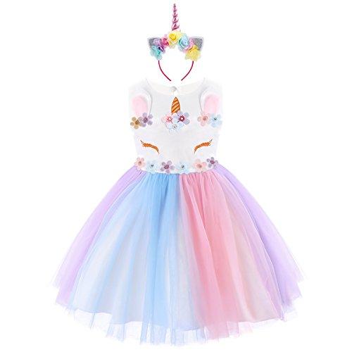 IWEMEK Niña Princesa Vestido Unicornio Disfraz de Cosplay para Fiesta  Carnaval Bautizo Cumpleaños Comunión Boda Multicolor f0678a58b650