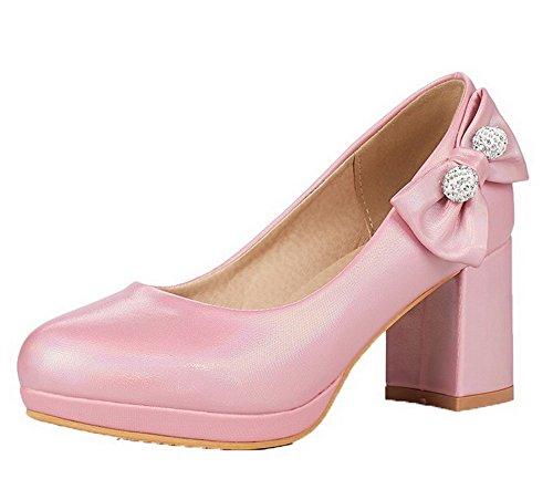 Légeres Rose Pu Rond à Cuir Chaussures Tire VogueZone009 Femme Houppe Talon Correct 4P1qnvxpw