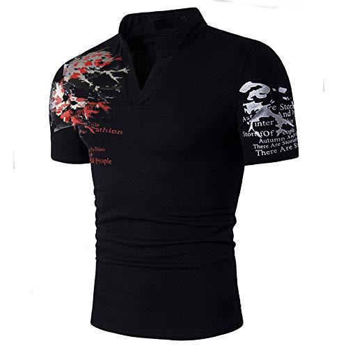 Polo para Hombre de Manga Corta Algodón Camisas Impresión Casual Blusa Slim Fit Camiseta Deporte Golf Poloshirt Cuello en V T-Shirt