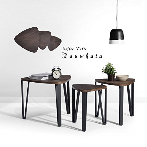 Aingoo Nest of 3 Tables Nesting Tables Wood Coffee Table Set End Side Tables With Metal legs, Dark Brown
