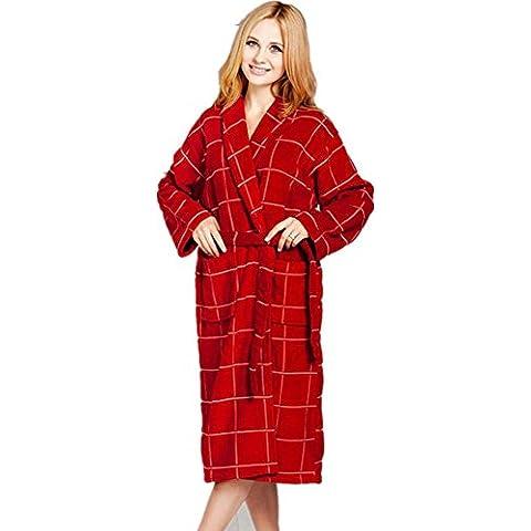LIUDOUColor de la tela escocesa albornoz novios pijamas gruesas adultos Albornoz Albornoz 3 , 3# , l