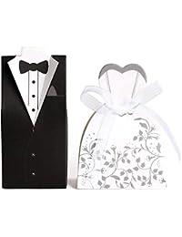 JZK 100 Scatolina portaconfetti portariso scatola bomboniera segnaposto per matrimonio nozze anniversario fidanzamento porta confetti sposa sposo