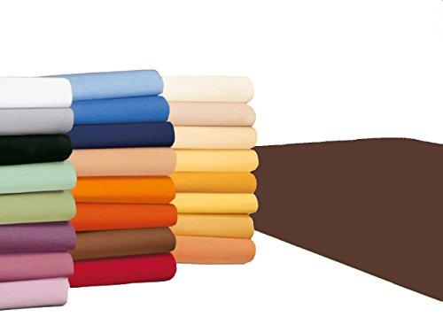 badtex24 Spannbettlaken 90 100 x 200 Spannbetttuch Bettlaken Jersey 100% Baumwolle 20 Farben Schokobraun 90x190-100x200cm