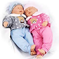 "The Magic Toy Shop 18"" Twins Baby Dolls Twin Babies Cuddles Baby Girl Boy New Born Doll with 2 Extra Outfits"