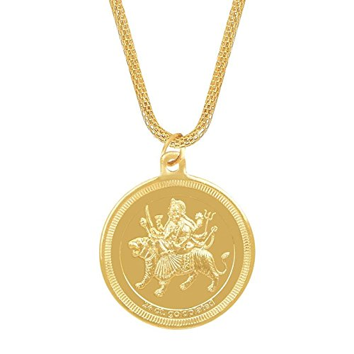 Shining Jewel 24K Gold Plated Durga Devi Coin Pendant and Necklace (SJ_2279)  available at amazon for Rs.214