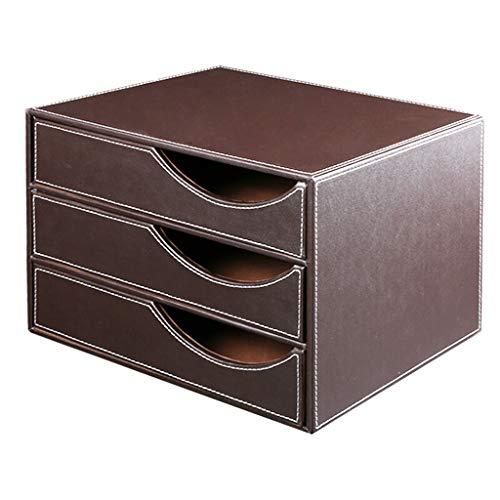 Drei-Ebenen-Schublade Datei Lagerschrank, Leder-Datei-Halter/Datei Korb/Ordner / Magazin Organizer/Storage Box/Datei-Manager (Color : Brown, Größe : A) -