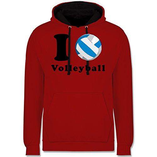 Volleyball - I Love Volleyball - Kontrast Hoodie Rot/Schwarz