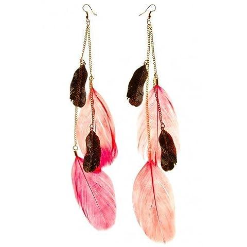 Princesse boutique - Boucles d'oreilles plume pendante corail