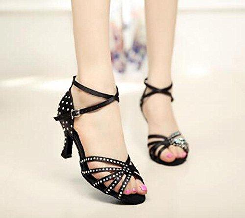 KUKI Diamond satin ladies scarpe da ballo latino scarpe da ballo per adulti da ballo sandali con tacchi alti 2