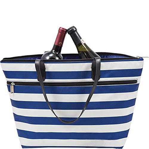Primeware Libation Diskreter Weinbehälter für 2 Flaschen, verstecktes und isoliertes Fach mit Trennwand zum Schutz von Flaschen Blue Stripes -