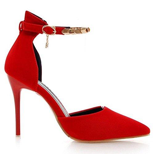 COOLCEPT Damen's Mode-Event D-Orsay Sandalen Shoes Kn?chelriemchen Schuhe Stiletto 748 Rot