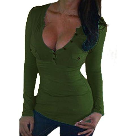 ZANZEA Sexy Donna V-Neck Manica Lunga T-Shirt con Pizzo Top Obertail OL Bluse e Camicie