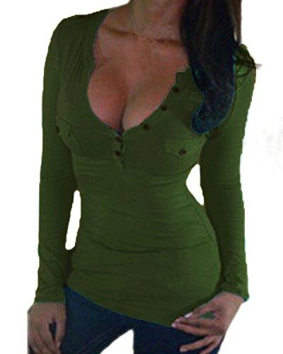 ZANZEA Mode Femme Sexy Col V Chemsie Slim Tops Hauts Shirt Avec Buttons Armée Vert