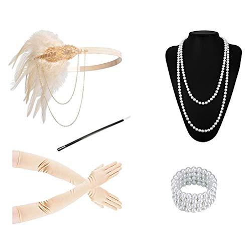 Flapper Kostüm Champagner - Amosfun 5 Stücke 1920er Jahre Frauen Zubehör Feder Stirnband Halskette Zigarettenspitze Lange Handschuhe Set für Party (Champagner)
