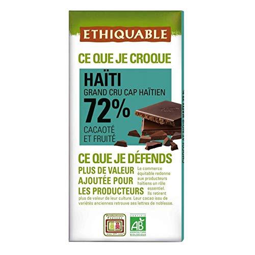 Ethiquable - Schwarze Schokolade 72% Kakao D'Haiti Bio 100G - Lot De 4 - Preis pro Los - Schnelle Lieferung