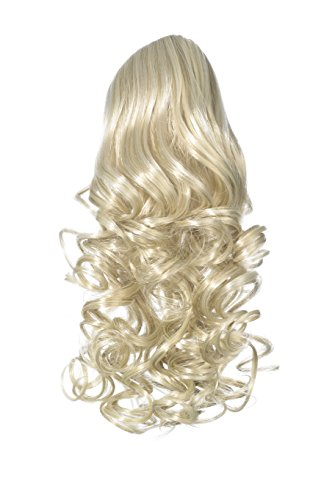Love Hair Extensions - LHE/N/CURLY/CC/22/60/613 - Prime de Fibres Synthétiques - Curly Pince Crocodile - Queue de Cheval - Couleur 22/60/613 - Blond Plage / Blond Pur / Blond Crème