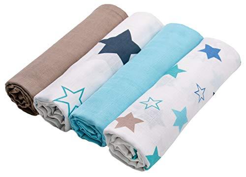 Zollner 4 mantas muselinas bebé algodón 100%, 120x120